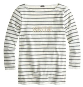 J.Crew T Shirt gray and white with gold lettering