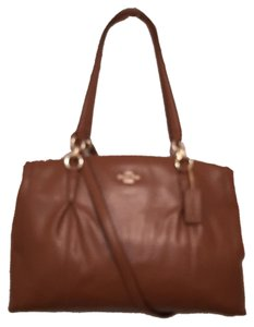Coach Leather Shoulder Cross Body Satchel in Brown
