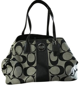 Coach Satchel in Black And Whitish Grey.