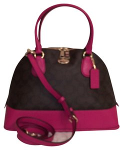Coach Leather Satchel in Brown Cranberry (Pink)