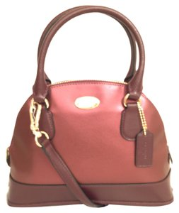 Coach Purse Handbag Cross Body Shoulder Dome Satchel in Red Gold