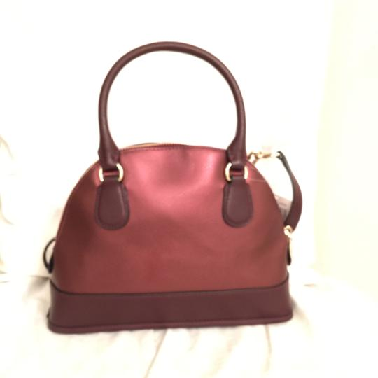 Coach Purse Handbag Cross Body Shoulder Dome Satchel in Red Gold Image 1