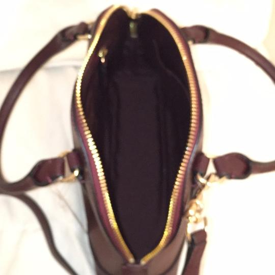 Coach Purse Handbag Cross Body Shoulder Dome Satchel in Red Gold Image 6