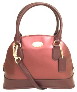 Coach Leather Cross Body New/nwt Handbag Satchel in Red (oxblood, Metallic Cherry)