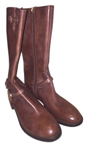 Ecco Leather High Dark Brown Boots