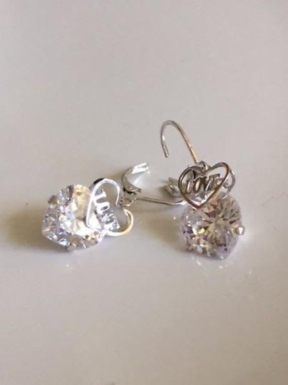 Other SALE New Radiant and Shiny Love Heart CZ Diamond Earrings Image 1