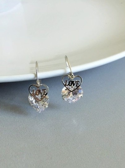 Other SALE New Radiant and Shiny Love Heart CZ Diamond Earrings Image 2