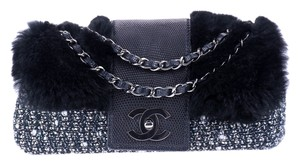 Chanel Lizard Chain Tweed Fur Shoulder Bag