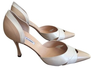 Manolo Blahnik Cream and Tan Pumps