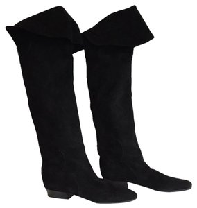 Italian black suede over the knee boots Boots