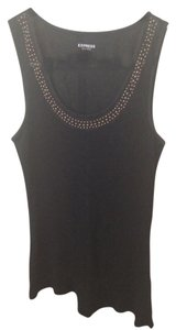 Express Ribbed Sheer Rivets Top Black