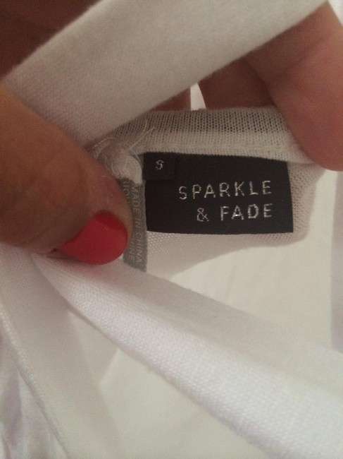 Sparkle & Fade Open Back Crisscross T-shirt Cotton Casual Urban Outfitters Summer Exposed Back T Shirt White