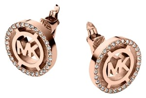 Michael Kors MKJ4085 Heritage Fulton Logo Clip On Earrings Rose Gold Tone