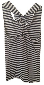 Ginger G Bow Crisscross Strap Top White and navy striped