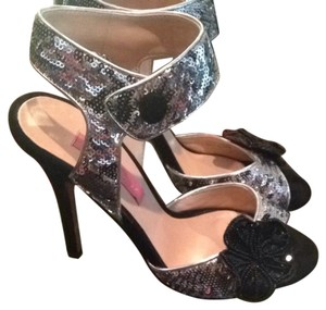 Betsey Johnson Floral Black & Silver Sequin Formal
