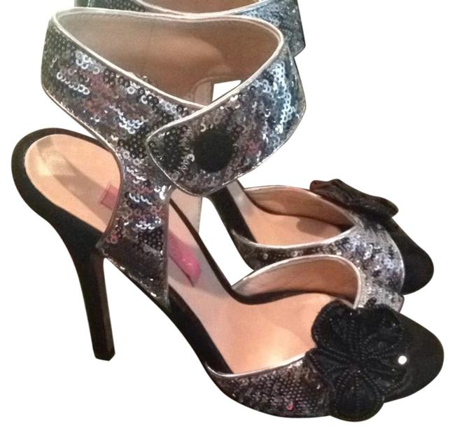 Item - Black & Silver Sequin No Formal Shoes Size US 7 Regular (M, B)