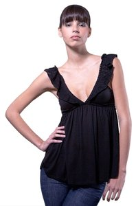 Edun Crochet V-neck Empire Waist Night Out Date Night Top Black