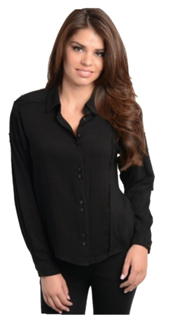 Other Button Up Wear To Work Versatile Collared Linen Button Down Shirt Blac