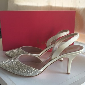 Kate Spade Silver New Jeanette Sparkle Ivory Satin Reatils Pumps Size US 8 Regular (M, B)