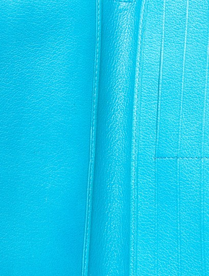 Chanel Teal leather Chanel Camellia zip organizer wallet
