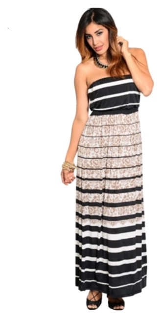 Preload https://item2.tradesy.com/images/black-white-and-tan-new-unique-floralstripe-pattern-long-casual-maxi-dress-size-14-l-10578211-0-1.jpg?width=400&height=650