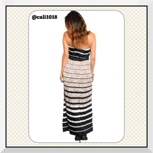 Black, Tan, and White Maxi Dress by Other Maxi Strapless Floral Blouson Lined