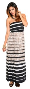 Black/White/Tan cimbo Maxi Dress by Other Maxi Floral Strapless Lined Blouson