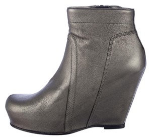 Rick Owens Metallic Ankle Wedge Platform Boots