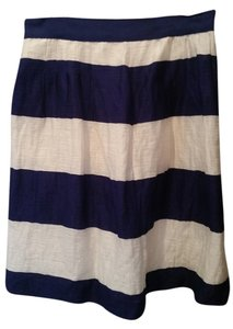 Ann Taylor LOFT Linen Nautical Anchor Skirt Blue and White