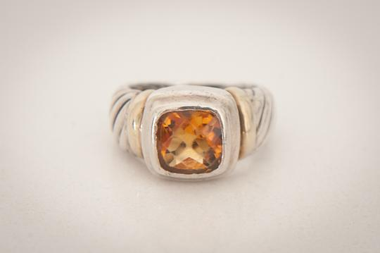 David Yurman David Yurman Sterling Silver & Gold Citrine Albion Cable Ring, Size 5