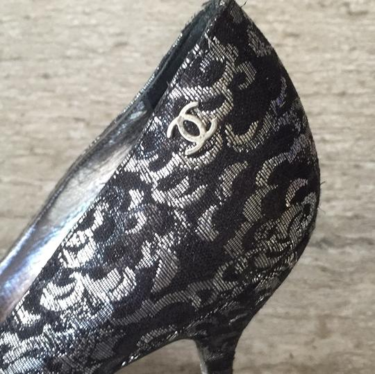 Chanel Black and Silver Pumps