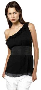 Miguelina One Shoulder Ruffle Tie Belt Silk Night Out Date Night Cocktail Top Black