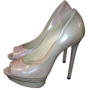 Brian Atwood Peep Toe Stiletto Grey Platforms