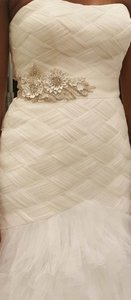 David's Bridal Gown With Basket Woven Bodice And Ruffled Skirt Wedding Dress