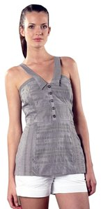 Walter Baker Cotton Silk V-neck Sleeveless Top Grey