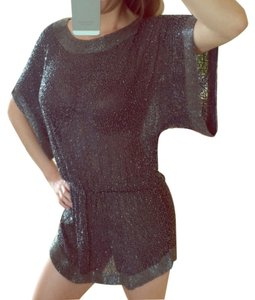 Parker Tunic Loose Dressy Top Navy Blue Beads w Silver