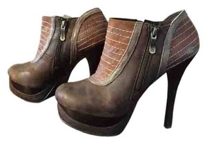 Two Lips Platform High Heel Two-tone Brown Boots