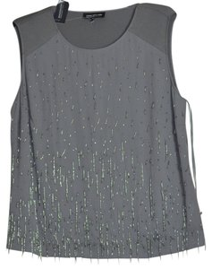 Jones New York Beaded Top Steel Grey
