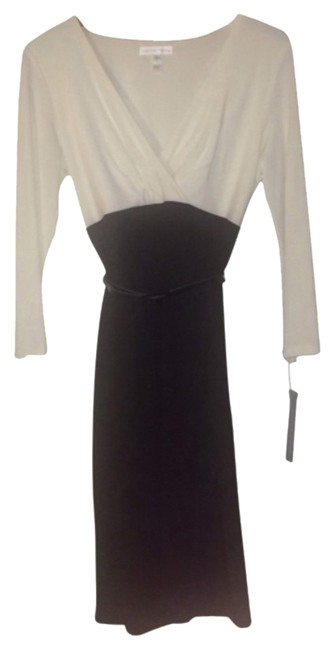 Preload https://item4.tradesy.com/images/london-times-black-and-cream-off-white-m-above-knee-workoffice-dress-size-10-m-10579798-0-2.jpg?width=400&height=650