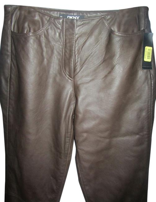 Preload https://item1.tradesy.com/images/dkny-brown-leather-boot-cut-pants-size-10-m-31-10579810-0-2.jpg?width=400&height=650
