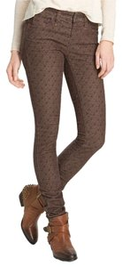 Free People Floral Corduroy Skinny Pants BROWN