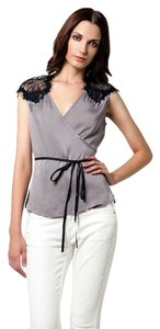 Young Fabulous & Broke Silk Lace Night Out Top Grey