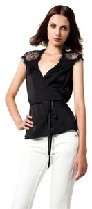 Young Fabulous & Broke Silk Lace Night Out Date Night Cocktail Top Black
