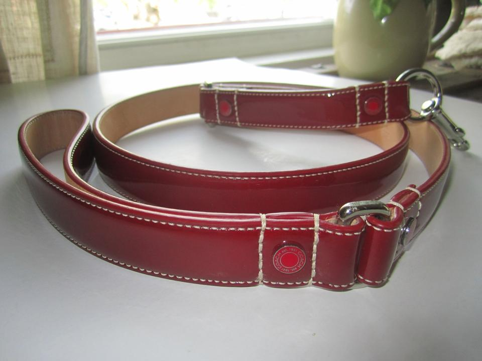 abd30b10 Coach Dog Leash (Fast Shipping ) Red Patent Leather Grommets Large