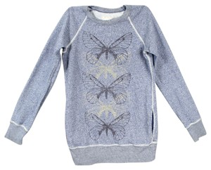 Free People Sweat Shirt Butterflies Butterfly Print Cotton Distressed Sweater