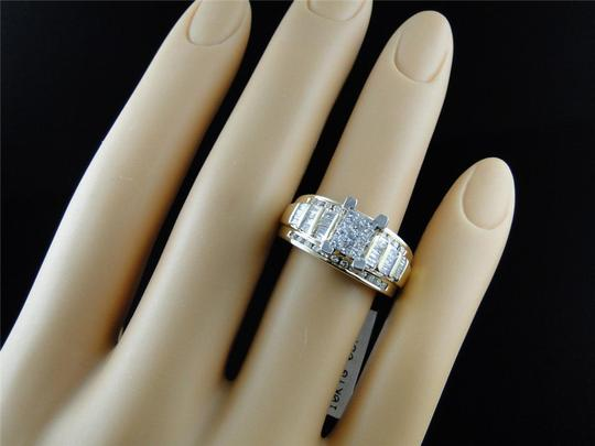Jewelry Unlimited Ladies Princess Cut Diamond Engagement Wedding Bridal Ring Set 0.90 Ct
