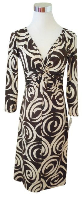 Preload https://item2.tradesy.com/images/london-times-brown-and-cream-knee-length-workoffice-dress-size-petite-8-m-10581706-0-1.jpg?width=400&height=650