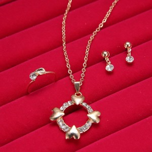 3pc Gold Tone Heart Jewelry Set Free Shipping