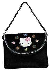 d47aaac623 Hello Kitty Velvet Velvet Beaded Purse Clutch Vintage Wristlet in Black