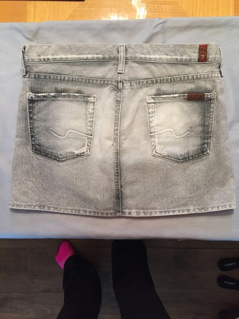 7 For All Mankind Mini Skirt Grey and white